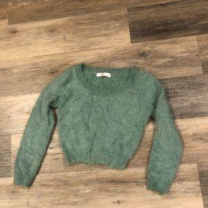 American Apparel fuzzy green sweater